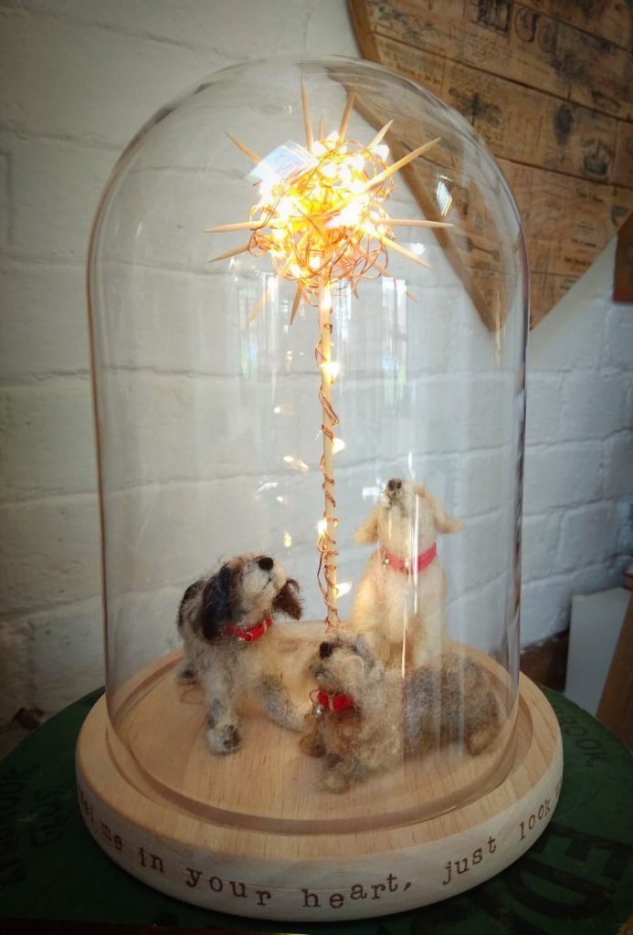 dogs under a glass dome