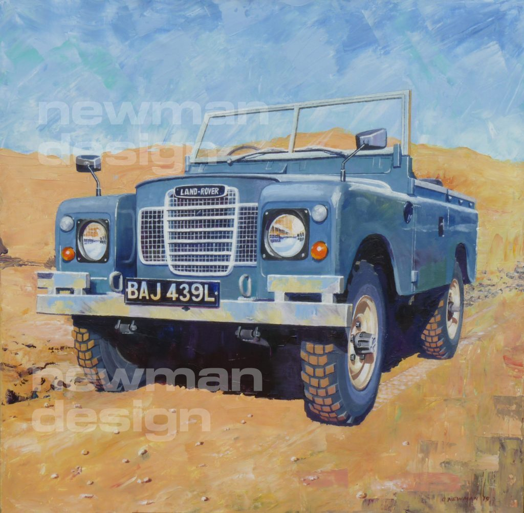 land rover series 3 acrylic painting