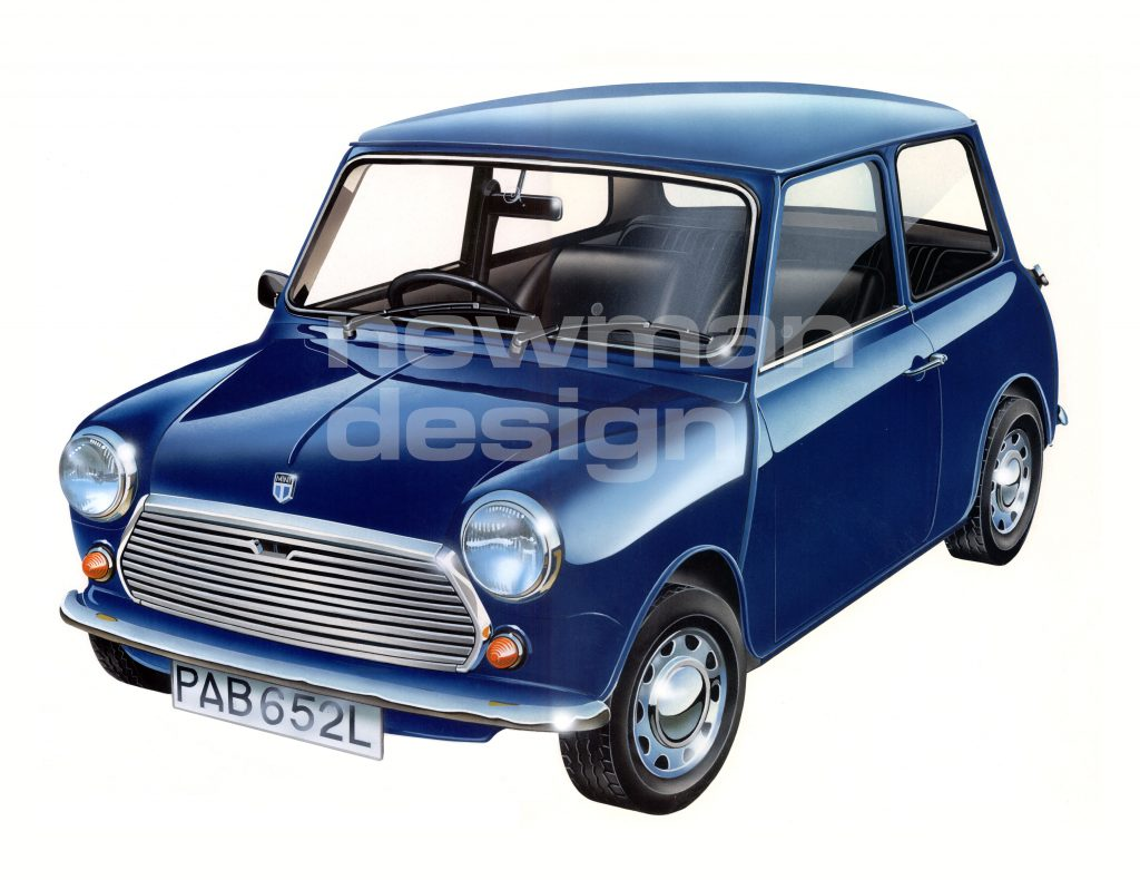 Austin Mini 850 Airbrush Illustration