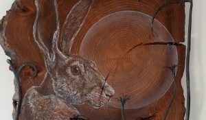 """Big Hare"" painting on elm"